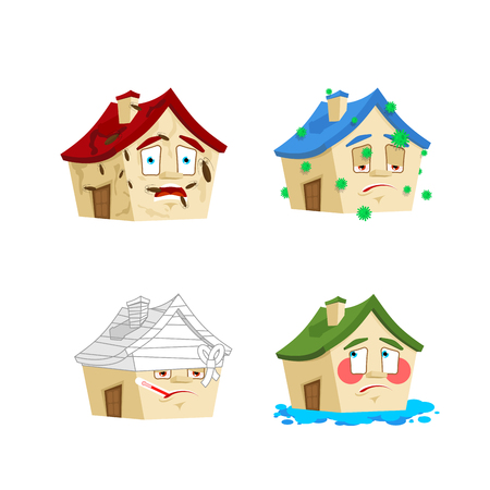 House Cartoon Style set. Home Sick and infected. Bandaged and flooded. Building Collection of situations
