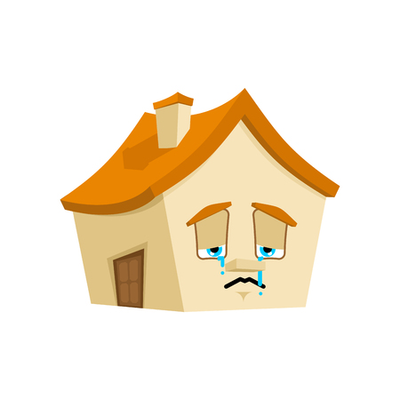 House Sad emotion isolated. Crying Home Cartoon Style. Building sorrowful Vector