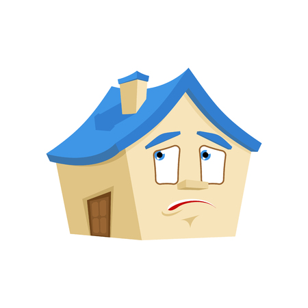 House bewildered emotion isolated. Home at loss Cartoon Style. Building panicked Vector