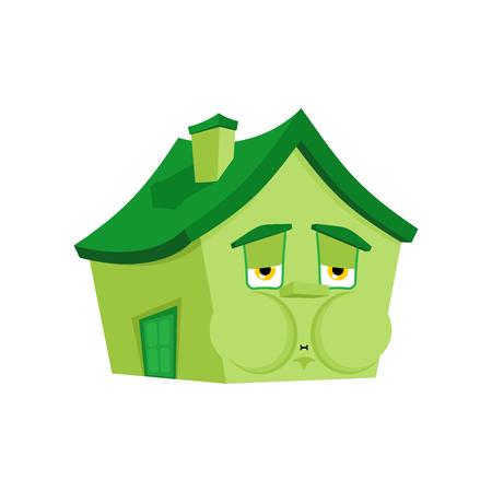 House Nausea Feeling sick emotion isolated. Sick Home Cartoon Style. Building ill Vector Illustration