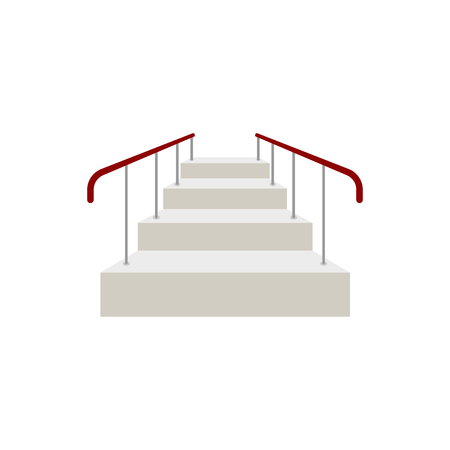 Ladder with railing Front view isolated. Vector illustration