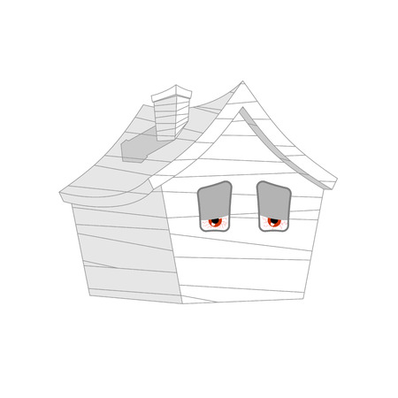 House bandaged Sick. ill Home Cartoon Style. Building Vector