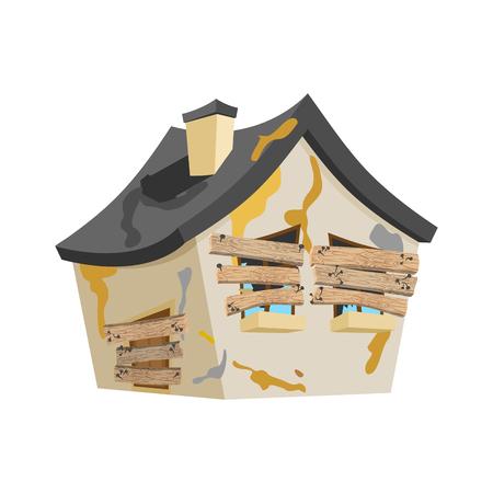 Casa abbandonata isolata. Vecchia casa in stile cartone animato vettoriale Home