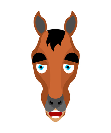 Horse happy emoji. Steed merry emotions. hoss Joyful. Vector illustration