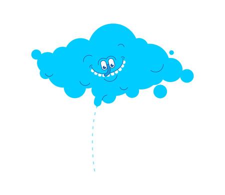Cloud rain pissing. Mischievous clouds. Vector illustration Illustration