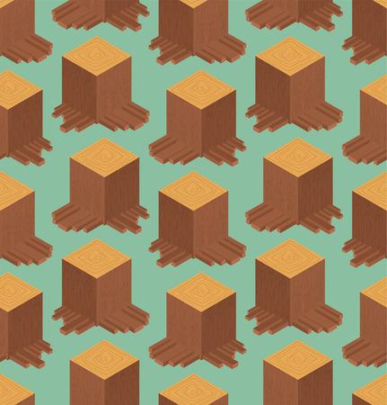 Stump pattern isometric style. Wood stub Vector background Standard-Bild - 125200322