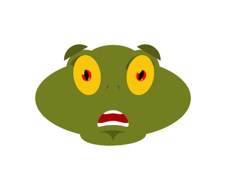 Frog scared OMG emotion. Toad Oh my God emoji. Frightened Anuran. Vector illustration