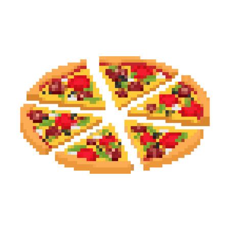 Slice of pizza pixel art. Fast food 8bit. Video game Old school digital graphics