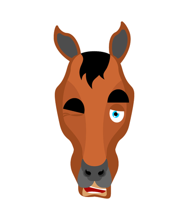 Horse winks. Steed happy emoji. hoss Vector illustration