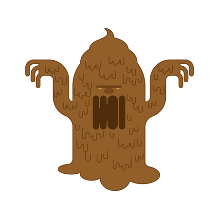 Shit monster. Turd brown mucous Mucus character. Vector illustration