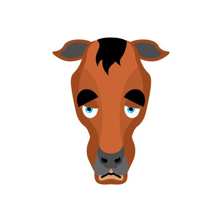 Emoji triste del cavallo. Destriero dolorose emozioni. hoss noioso. Illustrazione vettoriale