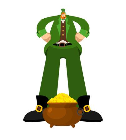 Big Leprechaun and gold. Huge Red dwarf. St.Patrick 's Day Irish holiday