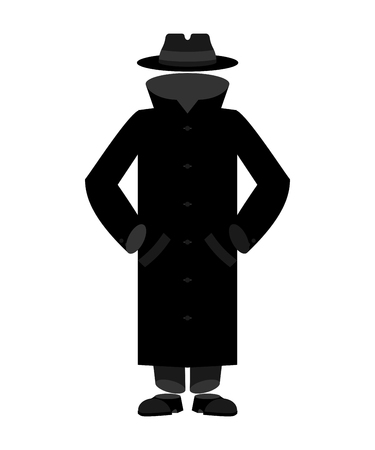 Invisible Man isolated. Invisible in cloak and hat.