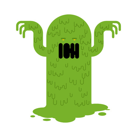 Snot monster. green mucous Mucus character. Vector illustration Illustration