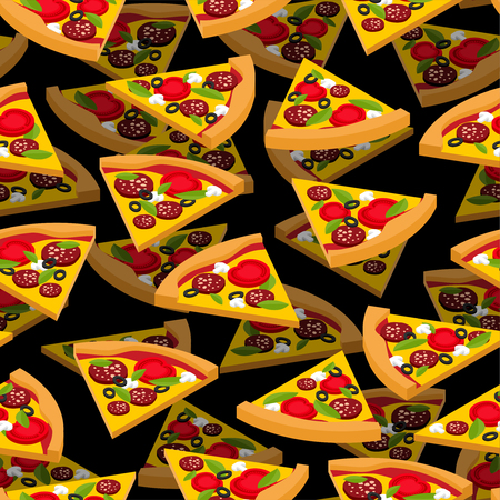 Pizza pattern seamless. Fast food background vector 向量圖像