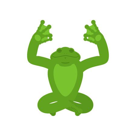 Yoga grenouille. Yogi de crapaud isolé. anoure Détente et méditation. Illustration vectorielle