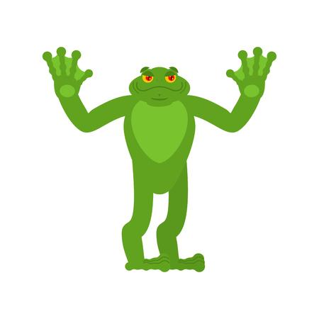 Frog happy. Toad merry emotions. Anuran Joyful. Vector illustration