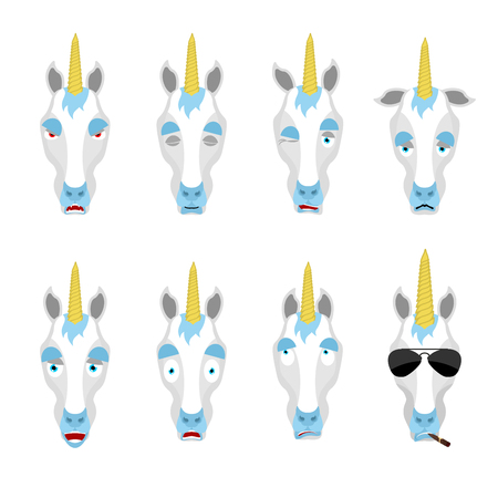 Unicorn set emoji avatar. sad and angry face. guilty and sleeping. Magic horse sleeping emotion face. Fairy Beast Eggplant. Vector illustration 向量圖像