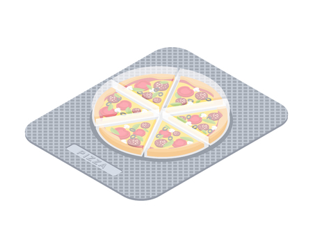 Pizza pills in pack. Fast food vitamins. Tablets box. Medicament Fastfood. Medical drugs