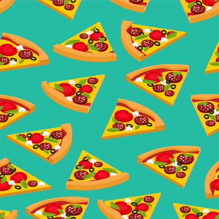 Pizza pattern seamless. Fast food background vector Illustration