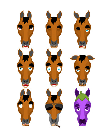 Horse set emoji avatar. sad and angry face. guilty and sleeping. Steed sleeping emotion face. hoss Eggplant. Vector illustration