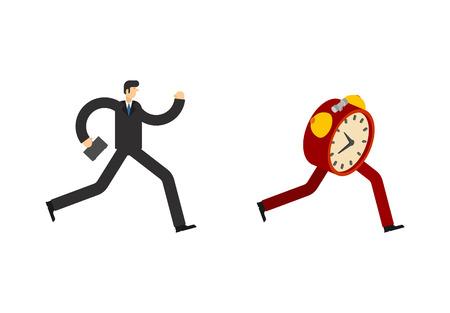 El hombre de negocios corre por el despertador. Llegar tarde. Se acaba el tiempo. Hombre corriendo después del tiempo