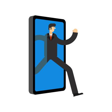 Businessman run away smartphone. Man go Offline. Concept stop online. Escape from internet