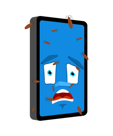 Bug in Phone isolated. Infected by insects Smartphone Cartoon Style. Gadget panicked Vector Illustration