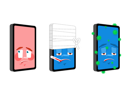Phone Cartoon emoji set 3. Smartphone Sick and infected. Bandaged and panicked. Gadget Collection of situations
