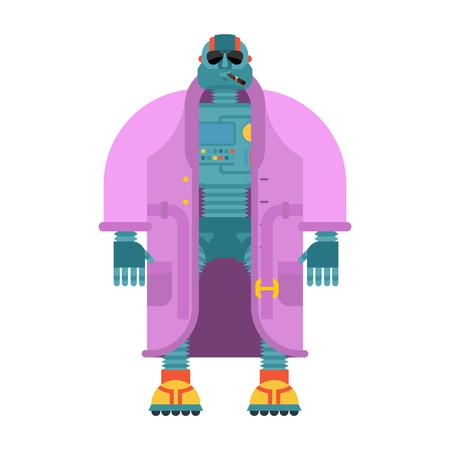 Robot in Coat isolated. Cyborg topcoat. Fashion robot Vector illustration Illustration
