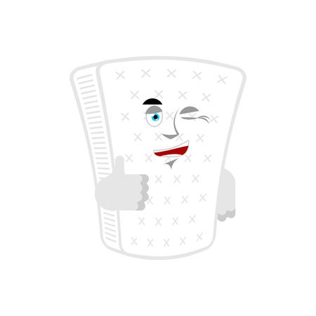 Mattress thumbs up and winks. squab happy emoji. joyful Vector illustration