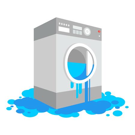 La laveuse est tombée en panne isolée. Machine à laver qui fuit