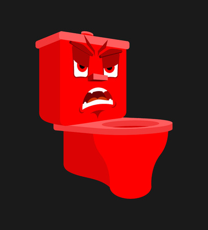Toilet bowl angry emotion isolated. Evil lavatory Cartoon Style. toilet fierce Vector Illustration