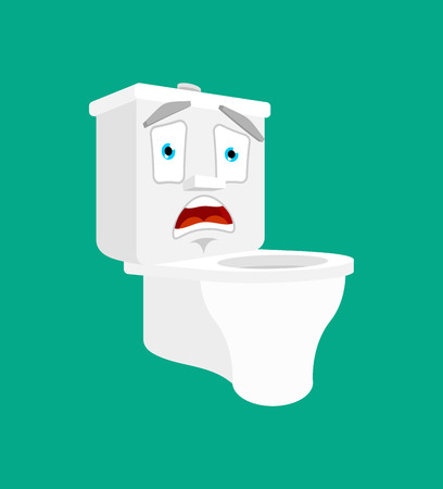 Toilet bowl emotion OMG isolated. Scared. lavatory panicked. Vector illustration