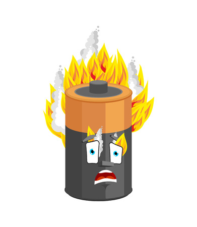 Battery burning isolated. accumulator Fire Cartoon Style. panicked Vector
