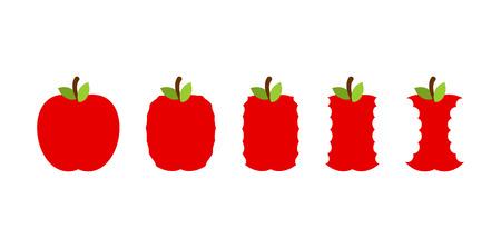 Stadium des Essens eines Apfels. Ganze Frucht und Stub