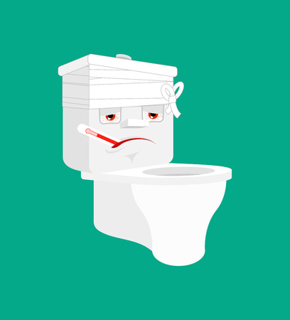 Toilet bowl Sick With thermometer isolated. ill lavatory Cartoon Style. toilet bandaged Vector