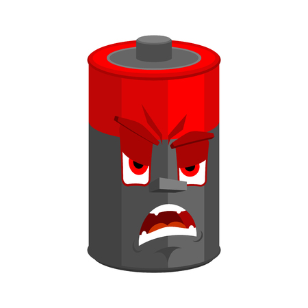 Battery angry emotion isolated. Evil accumulator  Cartoon Style