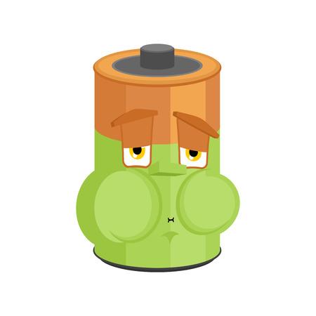 Battery Nausea Feeling sick emotion isolated. Sick accumulator Cartoon Style. ill Vector