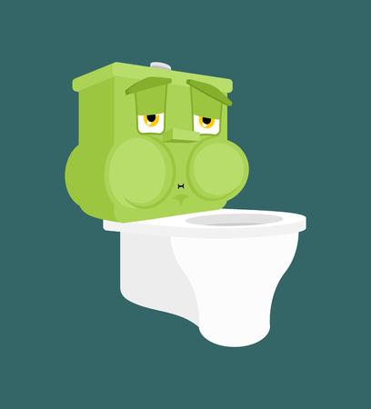 Toilet bowl Nausea Feeling sick emotion isolated. Sick lavatory Cartoon Style. toilet ill Vector