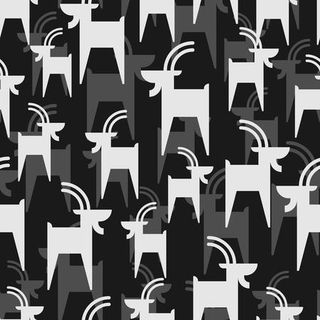 Mountain goat pattern seamless. Animal vector background beast