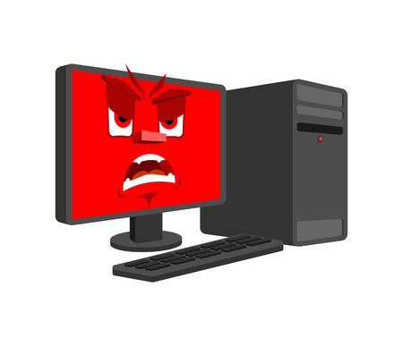 Computer angry emotion isolated. Evil Computer Cartoon Style. data processor fierce Vector Illustration
