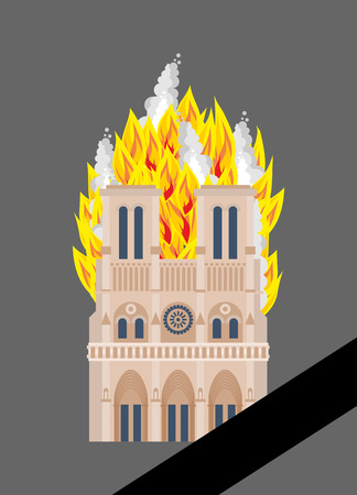 Notre Dame de Paris Fire. Burning roof of historic building in France. housetop flame Illustration