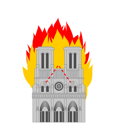Notre Dame de Paris Fire. Burning roof of historic building in France. housetop flame Vectores