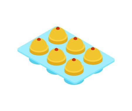 Silikonform zum Kochen und Cupcake isoliert. Vektor-Illustration