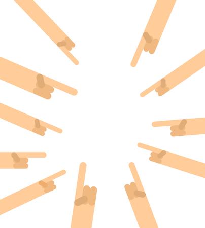 Viele Hände zeigen mit dem Finger. Mit dem Finger zeigen. EIN Vektorgrafik