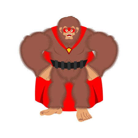 Bigfoot superhero. Super Yeti in mask and raincoat. Strong sasquatch