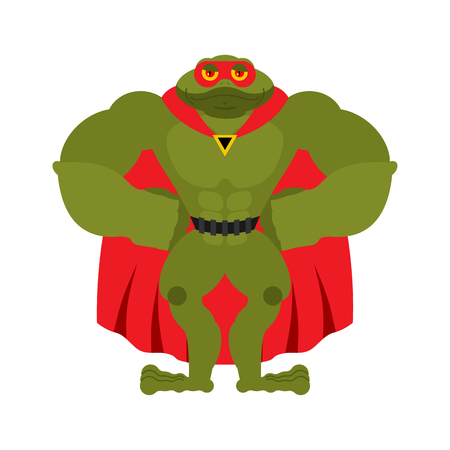 Frog superhero. Super toad in mask and raincoat. Strong Amphibian