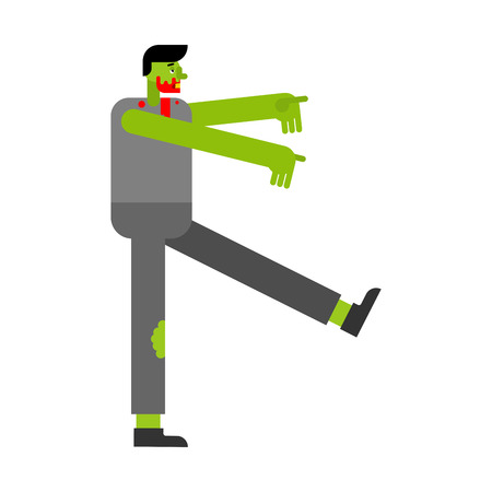 Zombie Walking isolated. green dead go. Vector