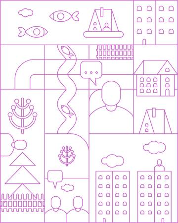 City map linear pattern seamless. cartoon Town backgrund. Vector texture Illustration